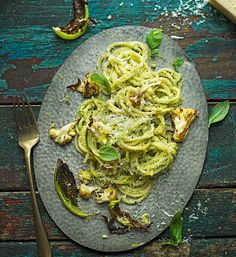Try an alternative to traditional pesto with this quick spaghetti recipe - using roast cauliflower, hazelnuts and anchovy fillets.