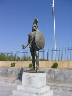 Leonidas I (Greek: Λεωνίδας) was a Greek hero-king of Sparta, the 17th of the Agiad line, third son of King Anaxandridas II of Sparta, who was believed in mythology to be a descendant of Heracles, possessing much of the latter's strength and bravery. Leonidas I is notable for his leadership at the Battle of Thermopylae. [Here: The statue of Leonidas I in Sparti]