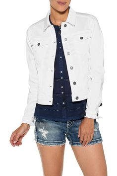 Everyone needs a white denim jacket in their wardrobe, and you can say goodbye to the stiff uncomfortable ones from the past! From Silver Jeans, comes an amazingly comfortable white denim jacket with traditional breast flap pockets and side hand pockets in a super stretch, lightweight fabric.     White Denim Jacket by Silver Jeans Co.. Clothing - Jackets, Coats & Blazers - Jackets - Denim North Shore, Boston, Massachusetts