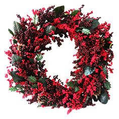 Shop Holiday Living 30-in Unlit Berry Artificial Christmas Wreath at Lowes.com