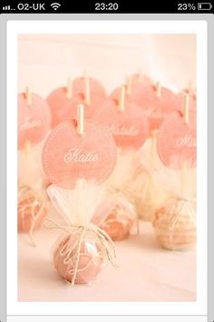 Cake pops as party favors. Love the name tag idea! I never thought of displaying cake pops upside down. Perfect for a bachelorette party sweet treat Bridal Shower Favors, Bridal Showers, Party Favors, Cake Pop Favors, Party Labels, Food Labels, Wedding Cake Pops, Wedding Cakes, Dessert Wedding