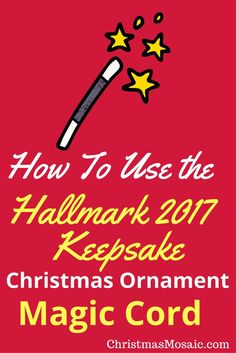 """The Hallmark keepsake Christmas ornament magic cord is the gateway to seeing a captivating and lively decoration for your tree. What is a Hallmark magic cord? Not all Hallmark """"sound and…Read more → Christmas Mosaics, Christmas Decorations, Christmas Ornaments, Being Used, Cord, Magic, Diy, Cable, Bricolage"""