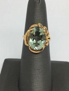 18K Solid Yellow Gold Natural Green Amethyst Ring by ddavishop on Etsy https://www.etsy.com/listing/485594724/18k-solid-yellow-gold-natural-green