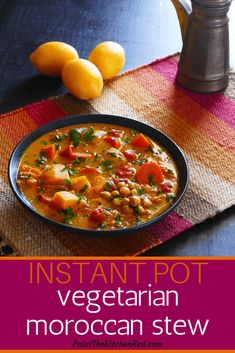 This Vegetarian Instant Pot Moroccan Stew is healthy and so delicious! This Moroccan stew has chickpeas, butternut squash, carrots, preserved lemons, saffron and other spices that combine to give the recipe amazing flavor. Even meat-lovers won't miss the Vegetarian Stew, Vegetarian Cooking, Instapot Vegetarian Recipes, Vegetarian Recipes Instant Pot, Pressure Cooker Recipes Vegetarian, Vegan Food, Vegan Stew, Vegetarian Italian, Vegetarian Appetizers