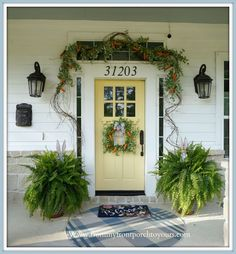 Yellow-Front-Door-Cottage Farmhouse Easter Front Porch Decor-From My Front Porch To Yours