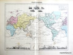 Planisphere. World Map 1884- Antique Maps and Charts – Original, Vintage, Rare Historical Antique Maps, Charts, Prints, Reproductions of Maps and Charts of Antiquity