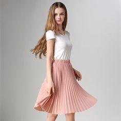 1339119c7c Pleated Skirt Autumn/Winter European Style Elegant Tulle Pleated Skirt Blue  Chiffon Skirt Women's Vintage Pink Midi Skirt