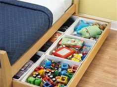 Utilize under-the-bed storage. | 41 Clever Organizational Ideas For Your Child's Playroom