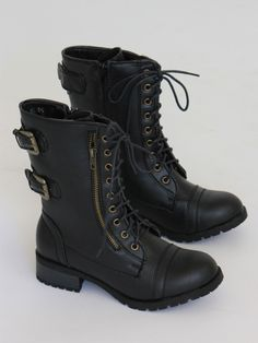 Black Combat Boots $55.00 Perfectly distressed black leather combat boots featuring a lace-up front.