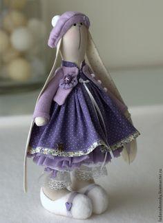 Купить Зайка Fleur - 30 см - фиолетовый, заяц тильда, зайка девочка, тильда заяц