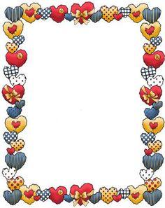 Dibujos y Plantillas para imprimir: Bordes con corazones para imprimir 04