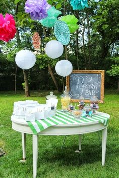Backyard Movie Party, Outdoor Movie Party, Outdoor Movie Nights, Sixteenth Birthday, 16th Birthday, Birthday Parties, Birthday Ideas, Popcorn Bar, Brunch Wedding