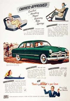 1949 Ford Custom Coupe vintage ad. There's a new Ford in your Future. Drive a Ford and feel the difference. Featuring 100 hp V8 performance.