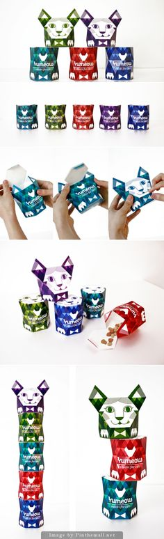 Collectible and adorable packaging design for YUMEOW Cat Snacks Tap the link for an awesome selection cat and kitten products for your feline companion! Food Branding, Food Packaging Design, Packaging Design Inspiration, Pet Branding, Packaging Ideas, Healthy Cat Food, Dog Restaurant, Tea Packaging, Bottle Packaging