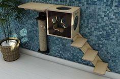 kit para gatos 4 itens, toca, prateleira, arranhador, escada