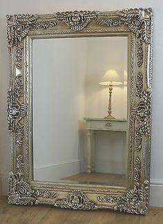 "Ella Silver Ornate Rectangle Vintage Wall Mirror 47"" x 35"" X Large"