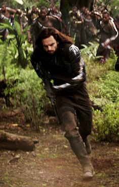 Our little baby, with his new shiny arm and his luscious flowing hair, off to kill people