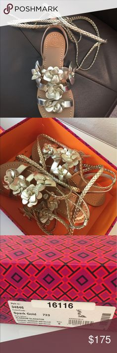 NIB Tory Burch Blossom Gladiator 9 Beautiful Gold metallic gladiator sandals  Size 9  I would say could fit 8.5-9.5 I'm sure someone can rock these $295 Tory Burch Shoes Sandals
