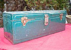 Vintage Metal Tool Box by CasaKarmaDecor on Etsy, $40.00