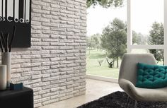 Brick Effect Panels- Feature Panels - Ladrillo Viejo Panel Fake Stone Wall, Fake Brick Wall, Fake Walls, Brick Wall Paneling, White Brick Walls, Brick And Stone, Brick Effect Panels, Stone Panels, Living Etc