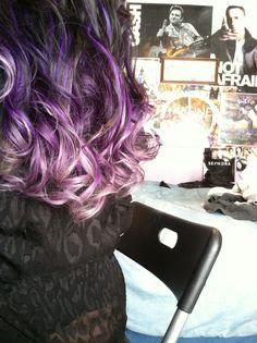Black purple to lavender ombré bright hair color curly using pravana vivids purple and 09v shades