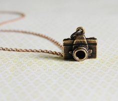 "Photographer Necklace $34.00 - Antique gold camera necklace. Gold chain chain 16"". Gold lobster clasp. Made to order."