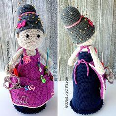 Crochet Crafter Granny Organizer Free Pattern - Knit And Crochet Daily Crochet Hood, Cute Crochet, Beautiful Crochet, Knit Crochet, Doll Amigurumi Free Pattern, Crochet Dolls Free Patterns, Knitting Patterns Free, Free Knitting, Granny Dolls