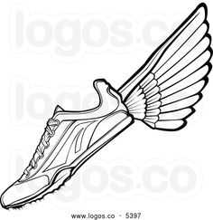 Royalty Free Vector of a Logo of a Black and White Track Shoe with Wings
