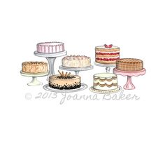 Cake Illustration Art Print 5 x 7 by joannabaker on Etsy