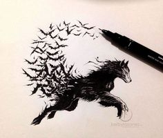 Would love to get this as a tattoo, this is one of my favorite wolf drawings. You could even go one step further and draw the wolf transforming into vampire 😮 Tattoo L, Tattoo Photo, Body Art Tattoos, New Tattoos, Color Tattoo, Wolf Tattoos, Tattoos Lobo, Wolf Tattoo Design, Tribal Tattoo Designs