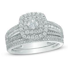 $1599.00 1 CT. T.W. Diamond Double Frame Bridal Set in 10K White Gold