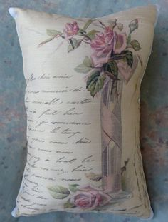 Pillow Vintage Print French Love Letter w Roses in by Maisonvogue, $15.00