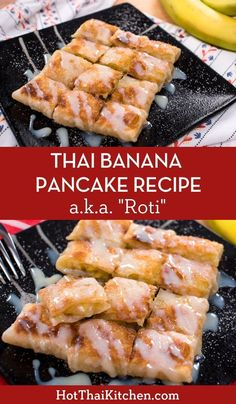 thai recipes Thai banana pancake or Thai roti is a super popular street snack that is absolutely divine! Crispy, slightly chewy, buttery dough is filled with warmed bananas and topped with condensed milk. Nothing can beat it! Thai Street Food, Asian Desserts, Asian Recipes, Thai Dessert Recipes, Thai Cooking, Cooking Recipes, Vegetarian Recipes, Cooking Beef, Thai Banana