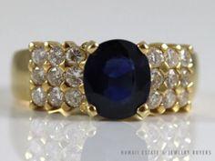 STUNNING 18K YELLOW GOLD NATURAL ROYAL BLUE OVAL SAPPHIRE & DIAMOND RING