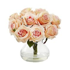 Nearly Natural Rose Arrangement with Vase, Pink (€46) ❤ liked on Polyvore featuring home, home decor, floral decor, flowers, fillers, plants, decor, pink, pink flower tree and pink blossom tree