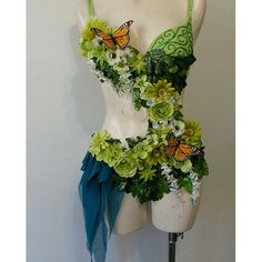Garden Fairy Costume, green flower ombre monochrome with butterfly accents