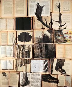 Ekaterina Panikanova — Hundreds of Vintage Books Turned Into Giant Mural Illustrations Art And Illustration, Illustrations, Easy Sketches, Collage Art, Collages, Collage Making, Magazine Deco, Design Tattoo, Colossal Art