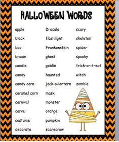 halloween words 8 letters