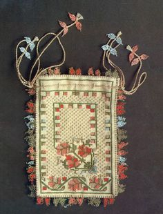 Adorned with multicolour silk embroidery and 'oya' lace work. Drawn Thread, Thread Art, Vintage Purses, Vintage Bags, Textiles, Drawing Bag, Palestinian Embroidery, Lavender Bags, Embroidery Bags