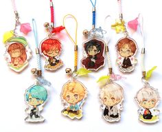 Mystic Messenger clear acrylic charms by Nanamochi on Etsy