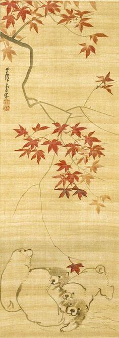 Puppies Under a Maple Branch. Nagasawa Rosetsu. Japanese hanging scroll.