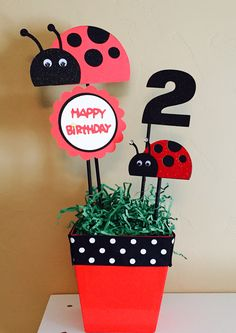 Ladybug centerpiece, Ladybug Birthday Party