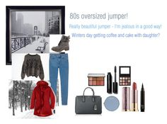 """For Judith (brothers mum in law) - Judith's ideal wardrobe by me: #4: 80s oversized jumper!"" by sarah-m-smith ❤ liked on Polyvore featuring Pottery Barn, ESPRIT, Monki, Celebrity NYC, MCM, Henri Bendel, Urban Decay, Bobbi Brown Cosmetics, NARS Cosmetics and Lands' End"
