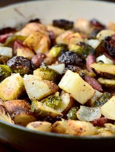 Roasted Brussels Sprouts, Potatoes and Kielbasa Recipe on Yummly. @yummly #recipe