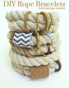 Make Jewelry By Yourself: 17 Wonderful DIY Jewelry Tutorials (Anthropologie Inspired DIY Rope Bracelet)