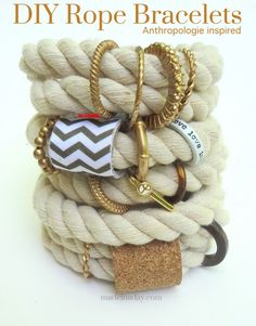 Make Jewelry By Yourself: 17 Wonderful DIY Jewelry Tutorials (Anthropologie Inspired DIY Rope Bracelet)