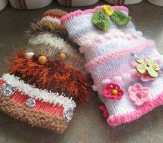 Free Knitting Pattern for Twiddle Muffs or Mitts - Twiddle muffs have a calming effect for people with dementia and other cognitivie difficulties. The muffs provide simple stimulation that has been shown to reduce agitation and restlessness. Twiddle muffs have also been used as a sensory comfort aid for autism, ADHD, and anxiety. Knit the muffs or mitts with colorful textured yarn from your stash and then add buttons, ribbons, beads, toys, anything that would be fun to fidget with!
