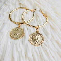 Gold Coin Earrings,Gold Hoop Earrings,Coin Hoops Gold,Hoops Gold,Coin Earrings G. Coin Jewelry, Copper Jewelry, Jewelry Gifts, Jewelry Accessories, Jewellery, Cheap Jewelry, Bridal Jewelry, Jewelry Art, Jewelry Ideas