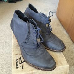 """J Shoes Sidesaddle Ankle Boot Sidesaddle Ankle Boot in color """"Airforce"""" or a dusty blue-grey. Suede leather with a leather and rubber sole. Some wear on back of right heel. Overall in good condition. J Shoes Shoes Ankle Boots & Booties"""