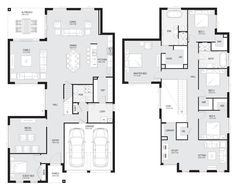 Melody 43 - Double Level - Floorplan by Kurmond Homes - New Home Builders Sydney NSW Dream Home Design, Home Design Plans, House Design, Dream House Plans, House Floor Plans, Large Floor Plans, House Map, Storey Homes, Custom Home Designs